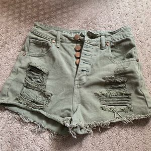 Button up olive green shorts Cotton On